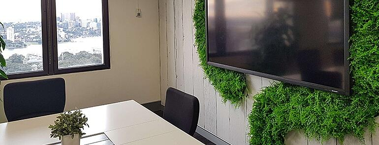 Meeting room fake plants