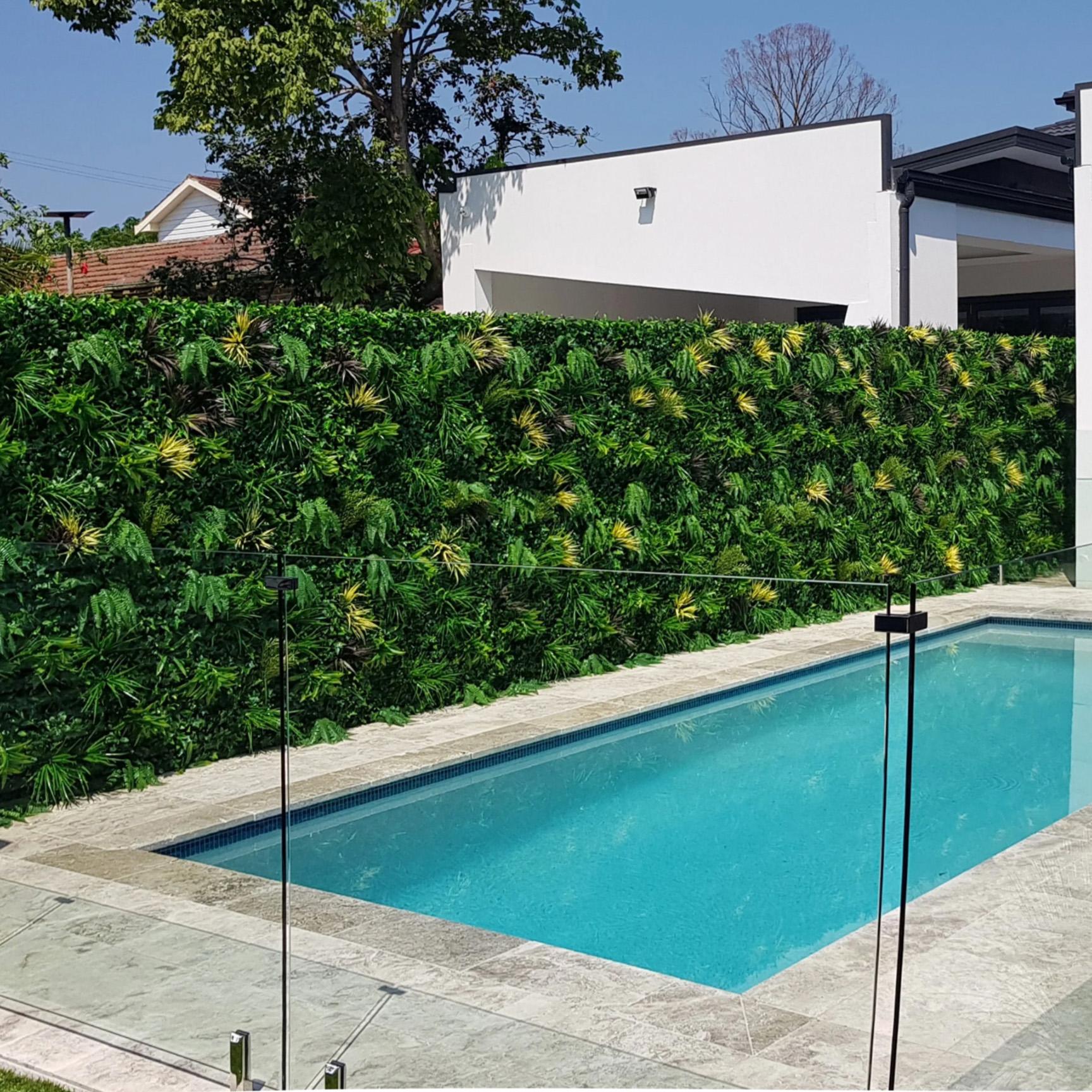 Coastal Autumn Poolside Green Wall Installation