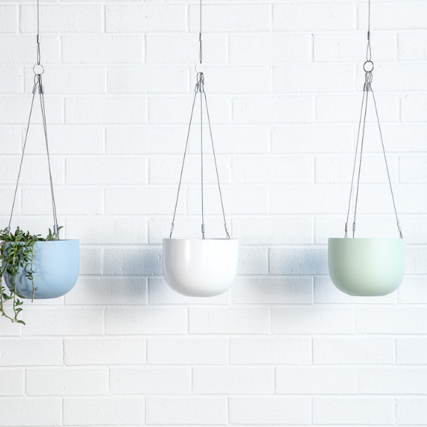 Maggie hanging planter bowls and foliage green white blue