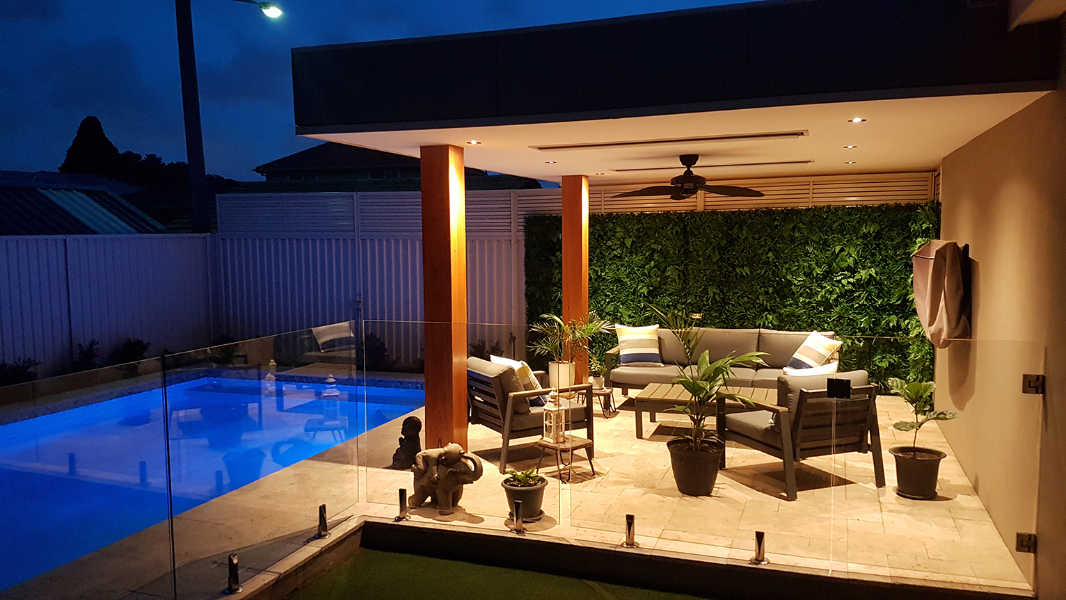 poolside green wall residential-1